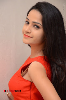 Telugu Actress Divya Nandini Stills in Orange Sleeveless Gown at Chennai Chaitrama Movie le Launch Event  0065.JPG