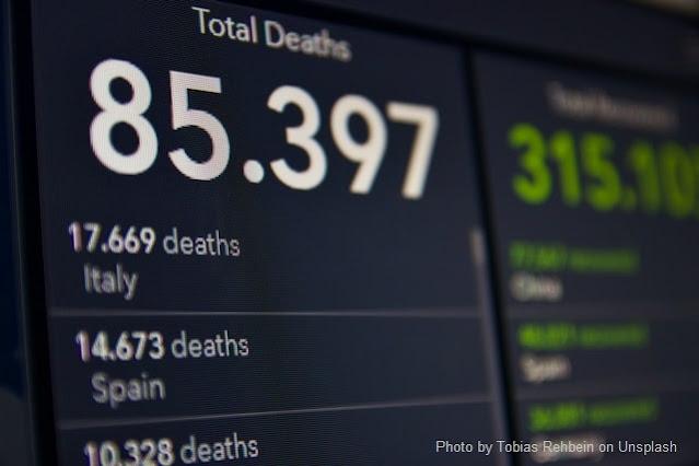 Números sobre mortes por Covid-19 em fundo preto