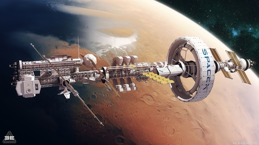 SpaceX orbital station above terraformed Mars by Encho Enchev