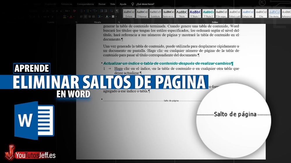 Como Eliminar Saltos de Pagina, Saltos de Sección en Word