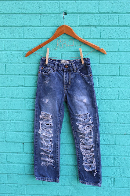 distressed jeans denim pants kids baby toddler girls boys teens tweens holes laddered shredded tears etsy