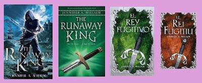portadas de la novela de fantasía juvenil El rey fugitivo, de Jennifer A. nielsen