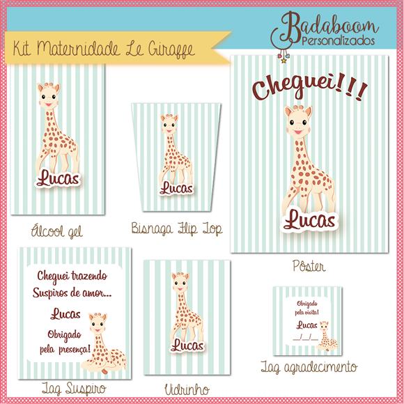 Le Giraffe, Girafa, maternidade, personalizados, arte, digital, kit, festa, infantil, party, le maternite, personalizada, algool gel, suspiro, vidirinho tag, tags, poster, flip top, tag agradecimento