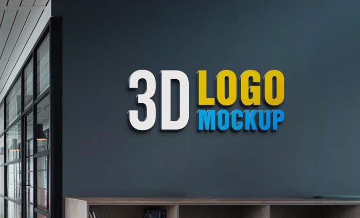 Wall 3D Logo PSD Mockup
