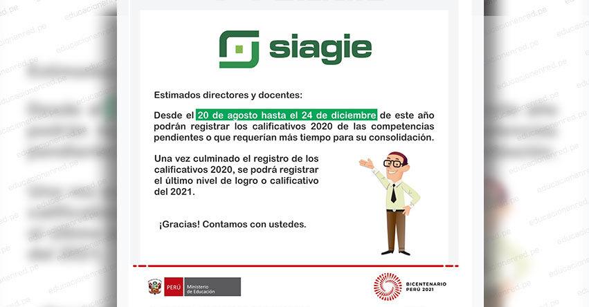 SIAGIE COMUNICADO: Procesos Pendientes para el registro de calificativos de las competencias - MINEDU - www.siagie.minedu.gob.pe