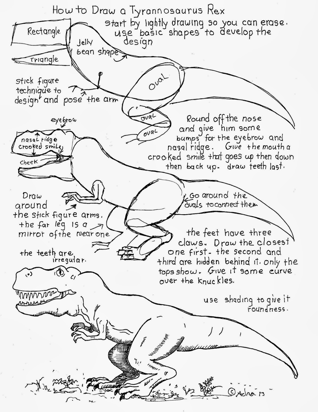 How To Draw Worksheets For The Young Artist How To Draw A Tyrannosaurus Rex Worksheet