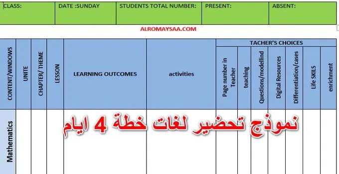 دفتر تحضير رياض اطفال لغات خطة 4 ايام