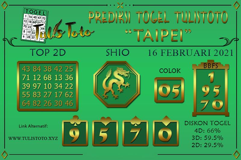 Prediksi Togel TAIPEI TULISTOTO 16 FEBRUARI 2021
