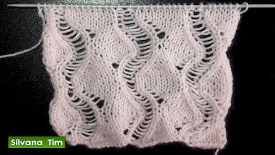 Punto OLAS CALADAS (puntos ondulados).  tejido con dos agujas