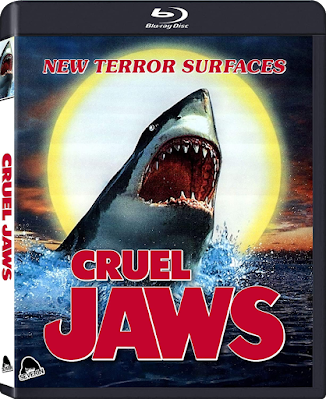 Cover art for Severin Films' CRUEL JAWS Blu-ray!