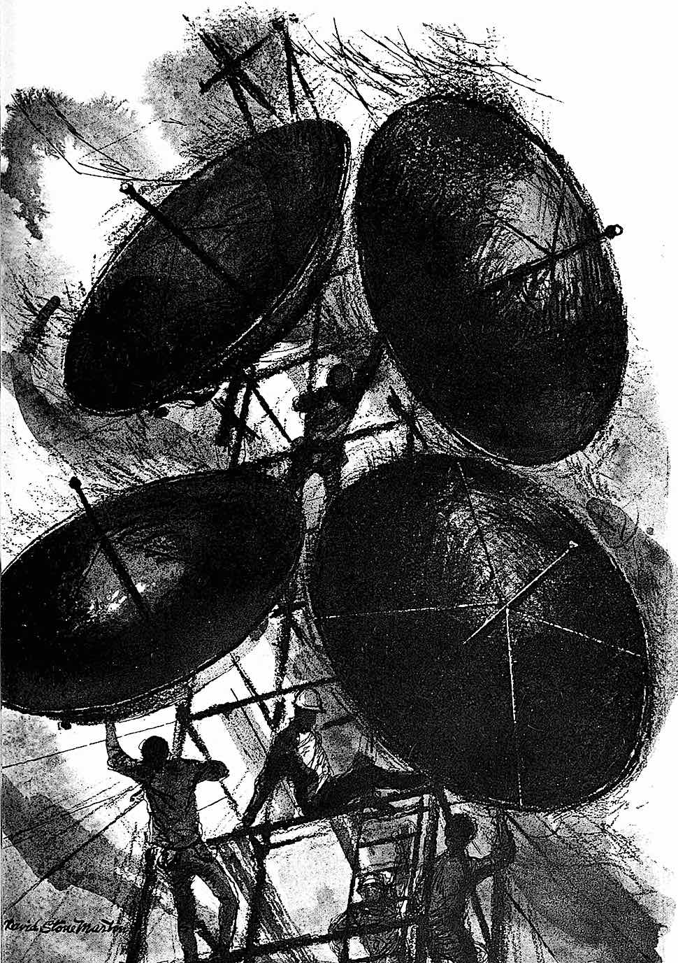 a 1964 David Stone Martin illustration of men in silhouette working on a tower