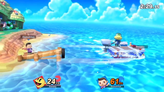 Super Smash Bros. Ultimate Tortimer's Island Kapp'n boat taking Pac-Man away