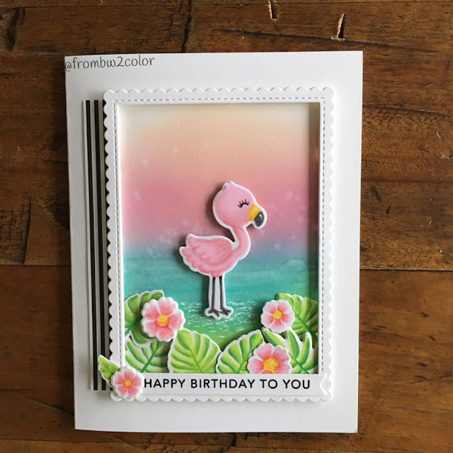 Sunny Studio Stamps: Fabulous Flamingos Customer Birthday Card by Lori McCarthy