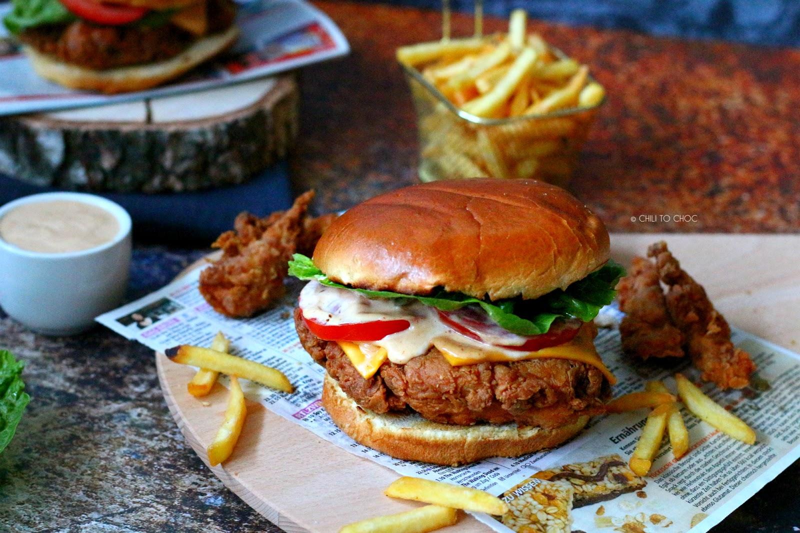 KFC-Style Crispy Chicken Burger (Zinger Burger)