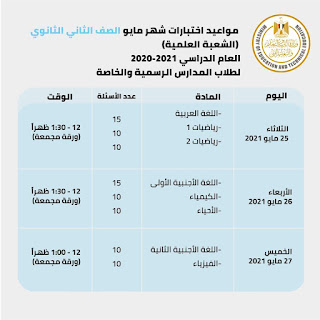 جدول امتحانات الصف الثاني الثانوي الترم الثاني مايو  قسم علمى 2021