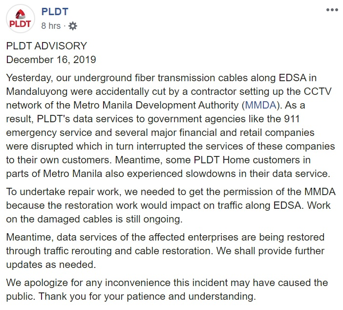 PLDT Full Statement