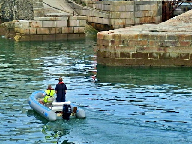 Small craft entering Charlestown Harbour, Cornwall