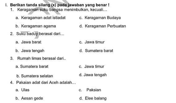 Soal PTS Kelas 4 Tema 7  Subtema 3 dan 4 dengan Kunci Jawaban
