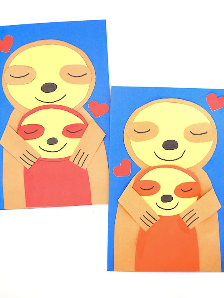 Sloth Mother's Day card for kids to make