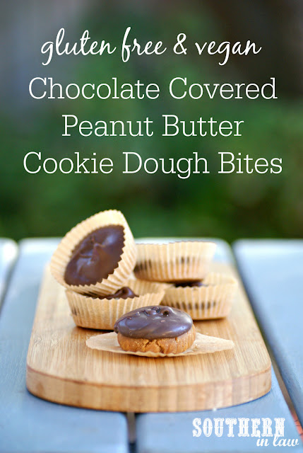 Vegan Chocolate Covered Peanut Butter Cookie Dough BItes - healthy homemade chocolate bar recipes, gluten free, vegan, egg free, dairy free, sugar free