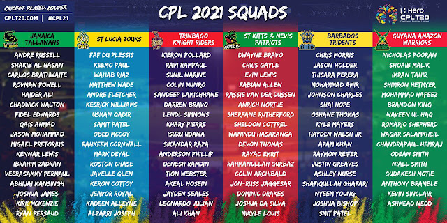 Caribbean Premier League 2021 - Check Full Squads of 6 Teams For CPL 2021.