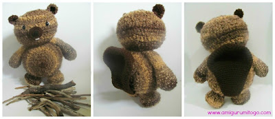 stuffed crochet beaver with sticks