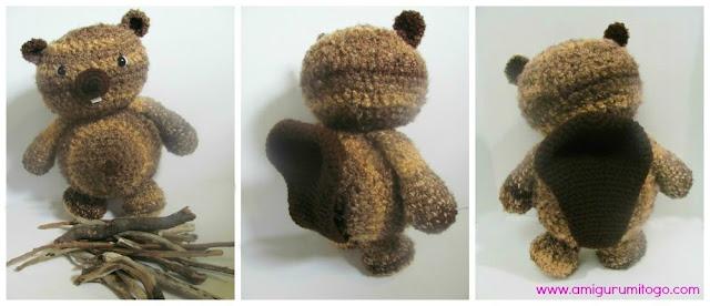 stuffed crochet beaver with sticks