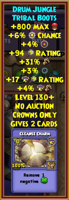 Wizard101 Level 130+ Gear Zafaria Hoard Pack