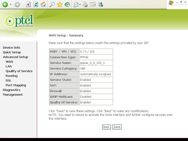 Ptcl modem configuration settings