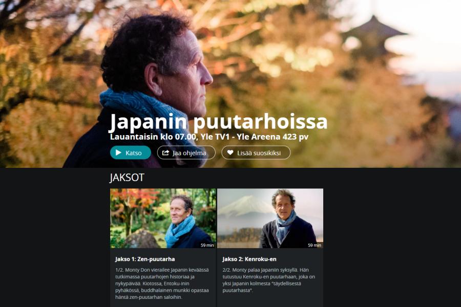 Japanin puutarhoissa, Yle Areena, Monty Don