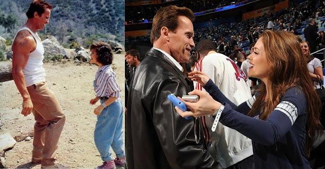 Arnold Schwarzenegger and Alyssa Milano 28 years apart