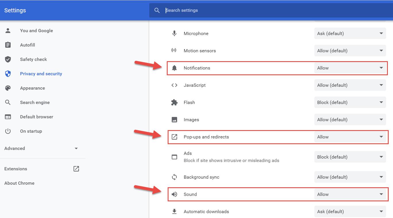 Cấp quyền thông báo cho tính năng Trò chuyện, Phòng trên Chrome