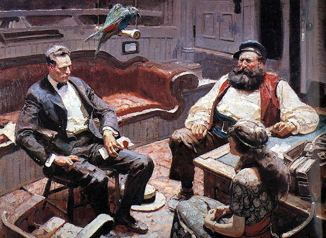 a Dean Cornwell illustration of a ship's captain with guests