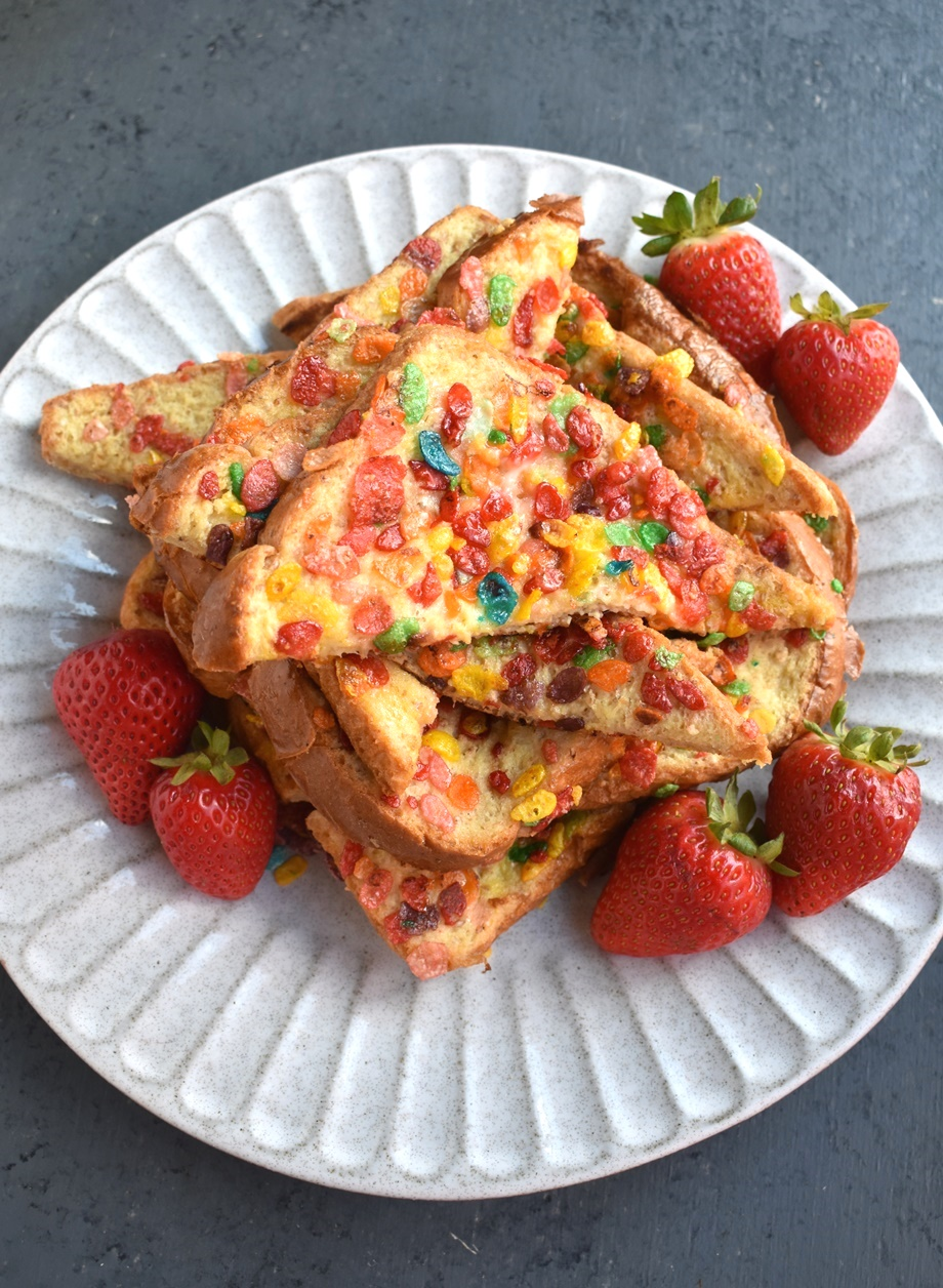 Stack of Fruity Pebbles French toast