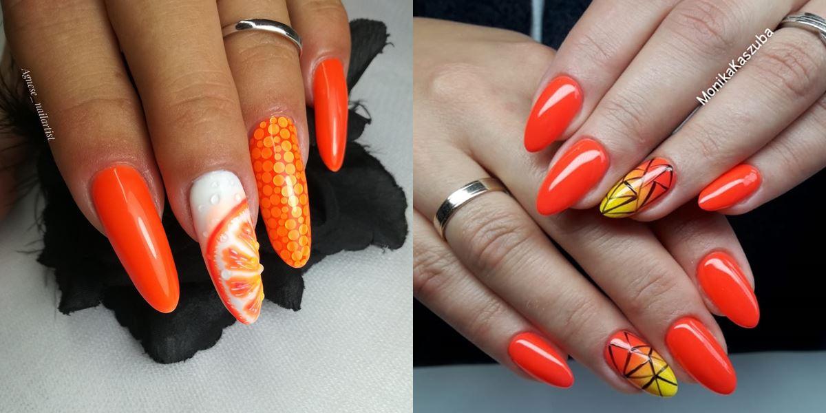 pomarańczowe neonowe paznokcie