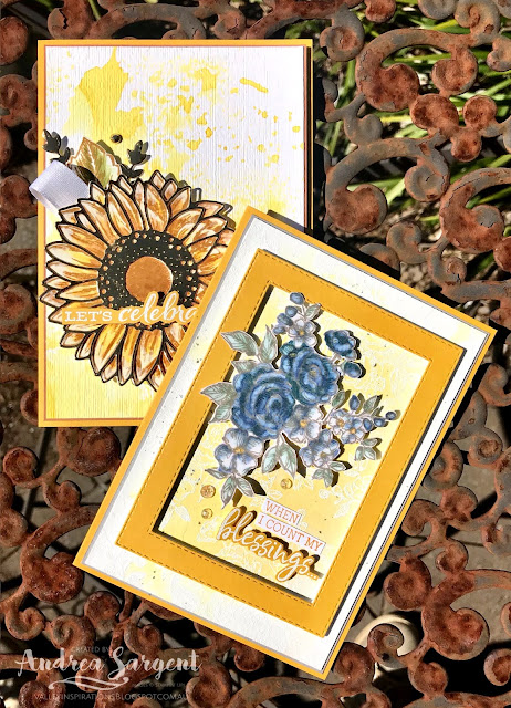 Crushed Curry Celebrate Sunflowers & Fancy Phrases Stampin Up card, Andrea Sargent, Independent Stampin' Up! Demonstrator, South Australia