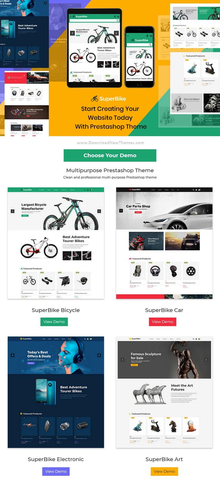Bicycle Auto Car Electronics Digital Art Prestashop Theme