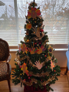 Christmas tree decorated with Thanksgiving turkeys