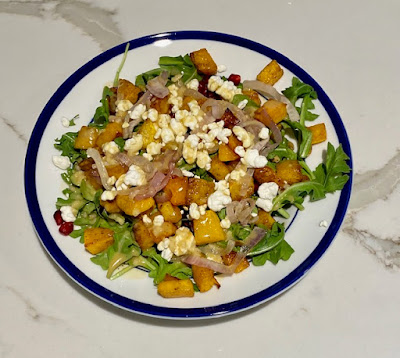 Roasted Butternut Squash and Pomegranate with Garlicky Honey Dijon Dressing