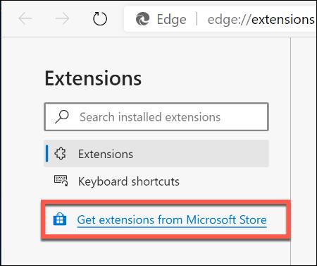 """انقر على الرابط """"الحصول على ملحقات من متجر Microsoft"""" في القائمة اليمنى."""