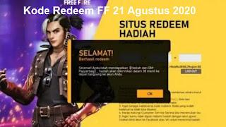 Kode Redeem FF 21 Agustus 2020