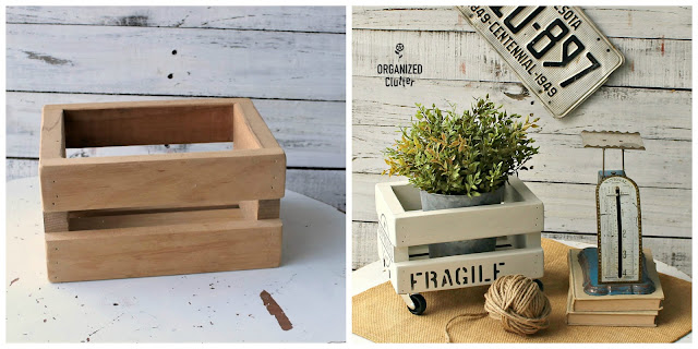 Shipping Crate Stencils and Small Casters Upcycle