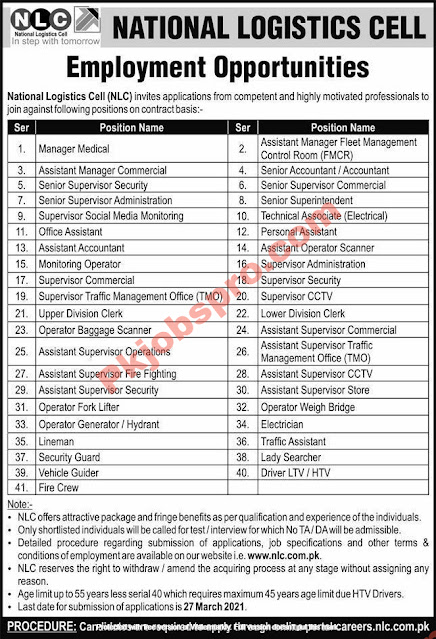 National Logistics Cell Jobs 2021