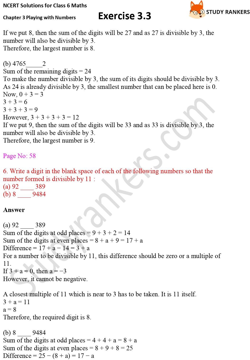 NCERT Solutions for Class 6 Maths Chapter 3 Playing with Numbers Exercise 3.3 Part 6