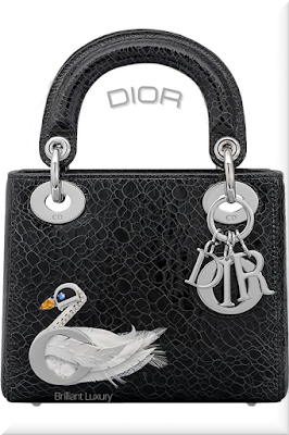 ♦Dior Lady Dior black crackled deerskin top handle bag embroidered with jeweled swan and silver Dior charms #dior #bags #ladydior #brilliantluxury
