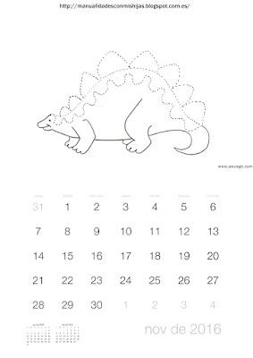 Calendario 2016 grafomotricidad noviembre dinosaurio
