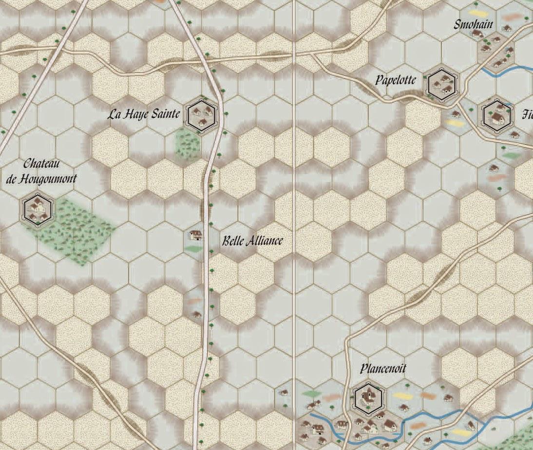 Map of Waterloo from the game Le Retour de l'Empereur by Pratzen Éditions