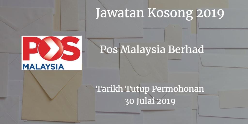 Jawatan Kosong Pos Malaysia Berhad 30 Julai 2019