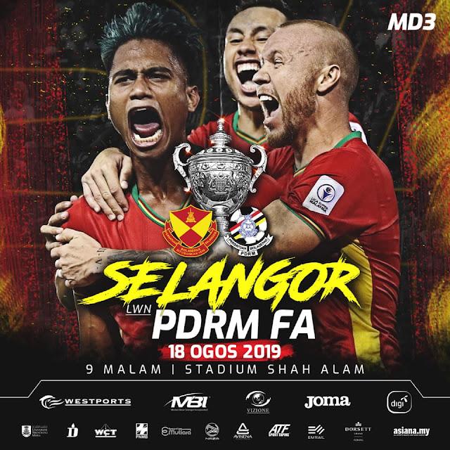 Live Streaming Selangor vs PDRM Piala Malaysia 18.8.2019