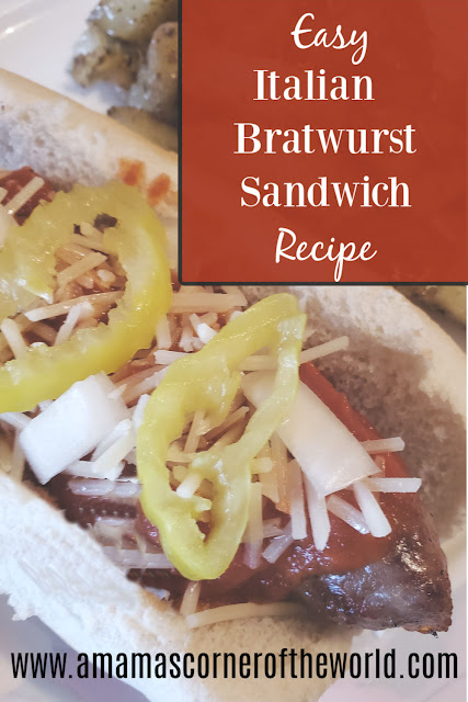 pinnable image for easy Italian bratwurst sandwiches